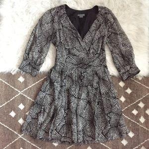 Armani Exchange silk black white long sleeve dress